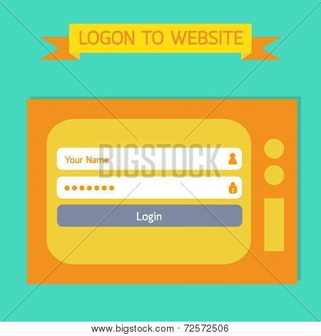 Login Template Tv Retro Style.