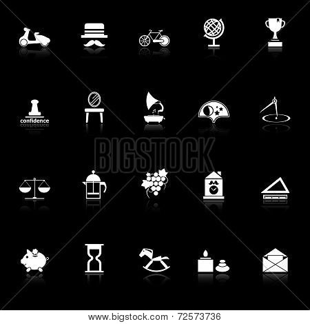 Vintage Item Icons With Reflect On Black Background