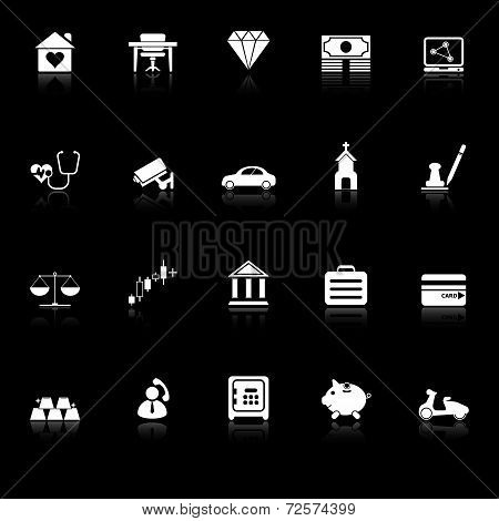 Insurance Related Icons With Reflect On Black Background