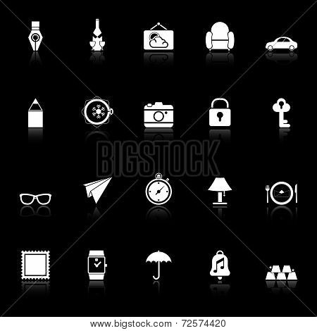 Vintage Collection Icons With Reflect On Black Background