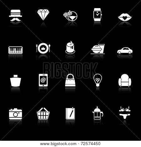 Department Store Item Category Icons With Reflect On Black Background