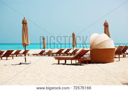 Beach Of The Luxury Hotel, Abu Dhabi, Uae