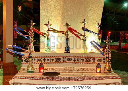 The Shisha Smoking Area At The Luxury Hotel In Night Illumination, Fujairah, Uae