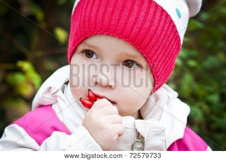 Autumn Portrait Of Cute Little Girl