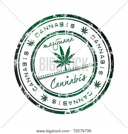 Cannabis grunge rubber stamp