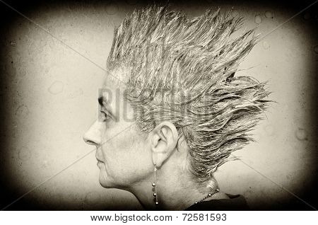 Woman with spiky hair