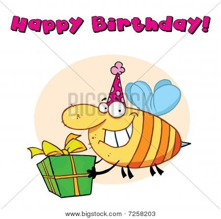 Bee Wearing A Party Hat And Flying With A Gift
