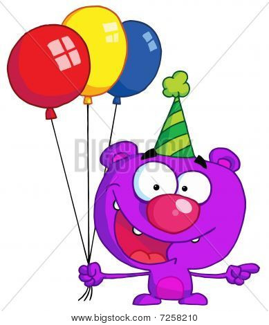 Happy bear in party hat with balloons