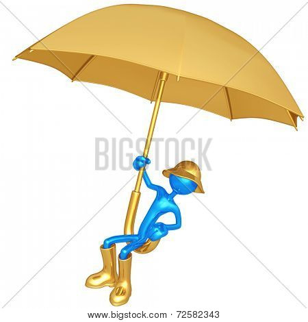 Flying On A Giant Umbrella