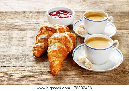 Fresh Breakfast With Croissants, Espresso And Jam