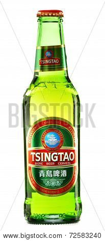 Bottle Of Tsingtao Beer Isolated On White