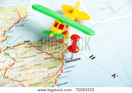 Aberdeen  Scotland; Great Britain Map Airplane