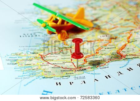 Cork  Ireland  ,united Kingdom  Map Airplane