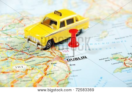 Dublin Ireland  ,united Kingdom  Map Taxi Car
