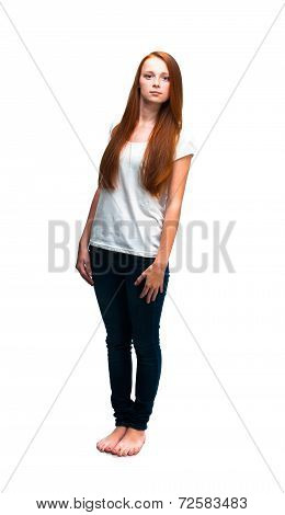 Beautiful girl in white T-shirt. Isolated on white background