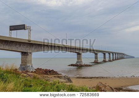 Confederation Bridge Linking Prince Edward Island With Mainland New Brunswick.