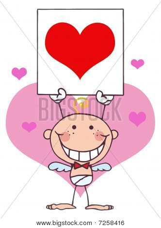 Cartoon Stick Cupid with Banner,Heart