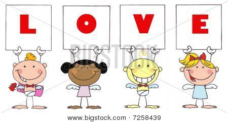 Cute Stick Cupids Holding LOVE Signs