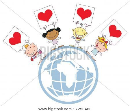 Cute Stick Cupids Holding Heart Signs On A Globe