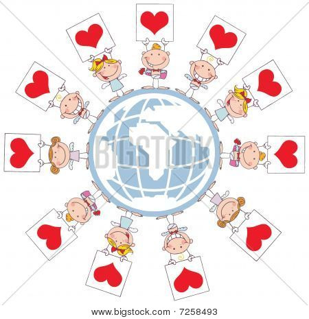 Cute Stick Cupids Holding Heart Signs Around A Globe