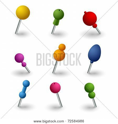 Set Colored Round Pins Web Elements