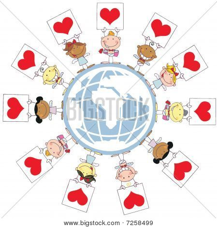 Cute Stick Cupids Holding Up Heart Signs Around A Globe