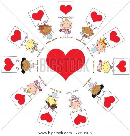 Cute Stick Cupids Holding Heart Signs Around A Heart