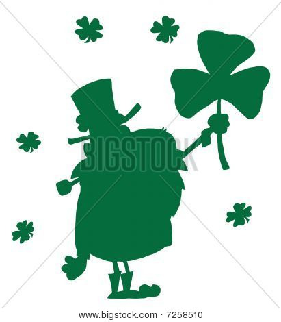 Happy Leprechaun With Shamrock Green Silhouette