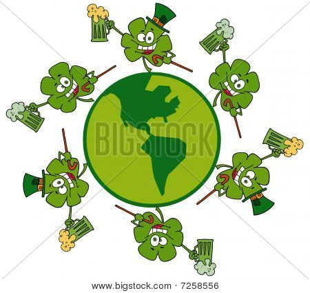 Circle Of Shamrocks Running Around A Globe With Green And Yellow Beer