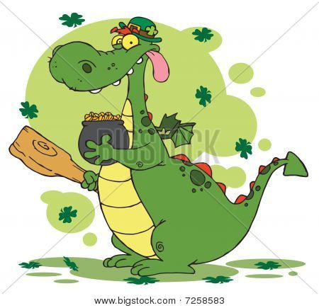 Dragon Leprechaun with a pot of gold and mace,background