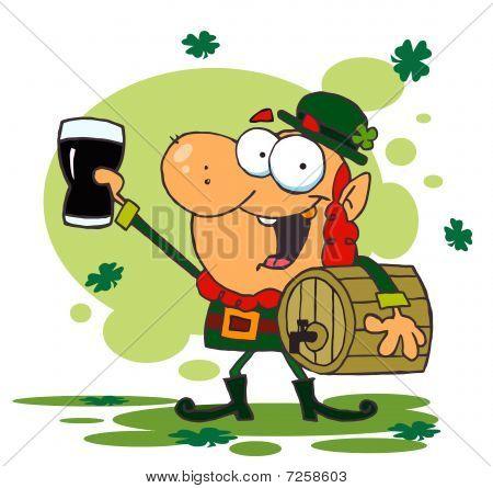 Lucky Leprechaun Toasting With A Glass And Carrying A Keg,background