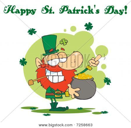 Happy St Patrick's Day Greeting Of A Leprechaun Holding Up His Middle Finger Of A Pot Of Gold