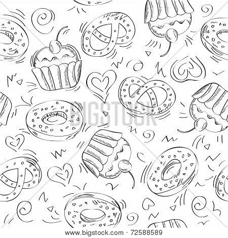 Food hand drawn seamless pattern - vector