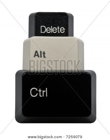 Black And White Ctrl, Alt, Del Keyboard Keys Isolated On White