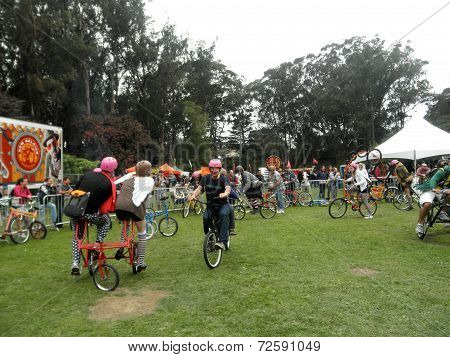 People Ride Crazy Bicycles In Circles In Celebration Of Bicycling