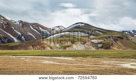 Landmannalaugar unbelievable landscape with tourists and river, Iceland