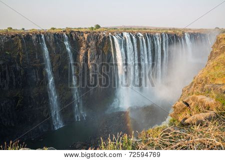 Wide view of Victoria Falls in Zambia