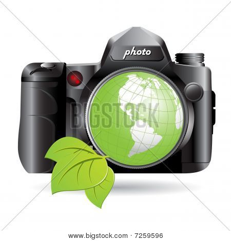 Camera And Green Globe