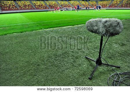 Sport Microphone On Football Stadium