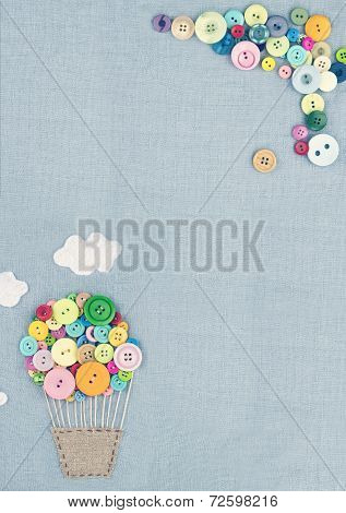 Hot Air Balloon Made Of Multicolored Buttons2