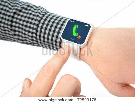 Isolated Male Hands With Smartwatch With Phone Call On The Screen