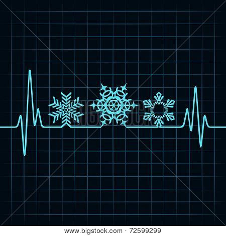 Heartbeat make Christmas symbols stock vector