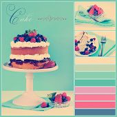 stock photo of sponge-cake  - Vintage retro style afternoon tea sponge cake with whipped cream and fresh berries collage of three images sample text and color swatches - JPG