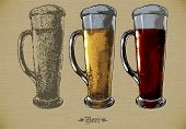foto of drawing beer  - three large beer mugs with of different sorts beer - JPG