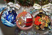 stock photo of merry chrismas  - creatively painted chrismas balls with shiny background  - JPG