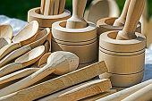 stock photo of household farm  - Traditional romanian wooden objects used in rural households - JPG