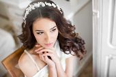 Постер, плакат: Portrait of the happy bride waiting for a wedding