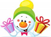 pic of peep  - snowman holding gift peeps out through the blank background isolated on white - JPG