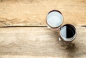 stock photo of shiraz  - Red Wine In A Wine Glass. The Top View ** Note: Shallow depth of field - JPG