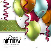 foto of child-birth  - Vector birthday card with balloons and birthday text - JPG